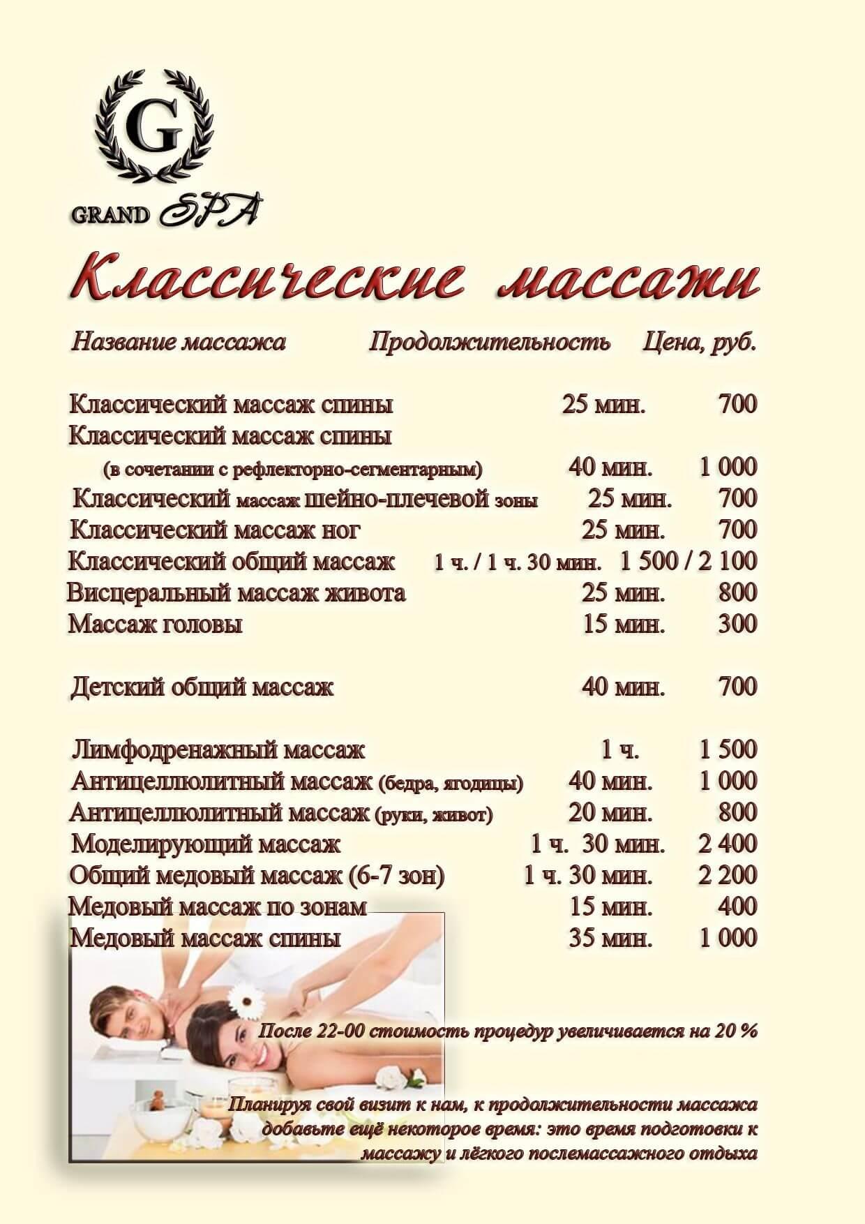 Цены на классические массажи - Гранд отель Гагра - отель европейского уровня в Абхазии (Grand Hotel Gagra)